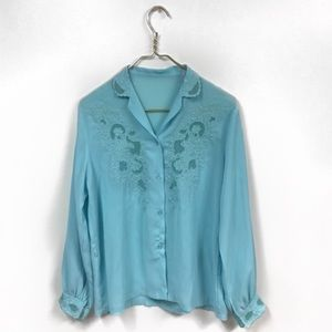 VTG - Turquoise Button Up Blouse w/Mesh Detail.
